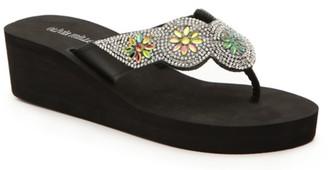 OLIVIA MILLER Jewel Wedge Flip Flop