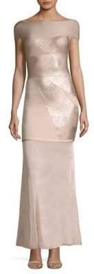 Herve Leger Off-The-Shoulder Foil Gown