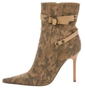 Casadei Camo Pointed-Toe Ankle Boots