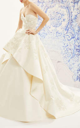 Carolina Herrera Bridal Ivonne Strapless Silk Ballgown With Floral Embroidered Tiered Skirt