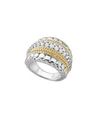 Lagos Lux Medium Band Ring with Diamonds, Size 7