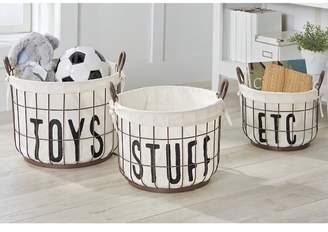 Mud Pie Canvas 3 Piece Metal/Wire Toy Basket