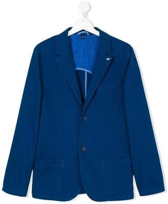 Emporio Armani Kids Teen logo pin lapel blazer