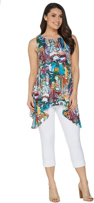 Women With Control Women with Control Petite Printed Tunic with Capri Pants Set