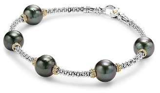 Lagos 18K Gold and Sterling Silver Luna Cultured Tahitian Pearl Rope Bracelet
