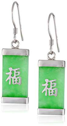 """Good Fortune Rhodium-Plated Sterling Silver Jade""""GoodFortune"""" Character Earrings"""