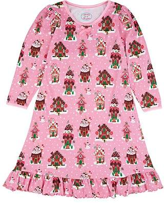 Sara's Prints KIDS' GINGERBREAD HOUSE COTTON-BLEND NIGHTGOWN
