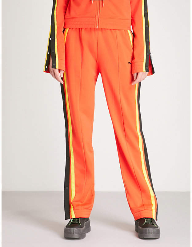 Side-stripe mid-rise jersey jogging bottoms