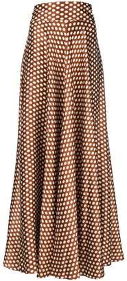 Diane von Furstenberg polka-dot flared maxi skirt
