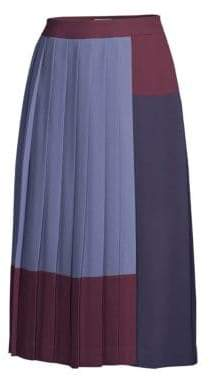 BOSS Midesa Stretch Crepe Colorblock Plisse A-Line Midi Skirt