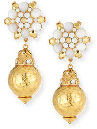 Jose & Maria Barrera Beaded Flower Drop Earrings