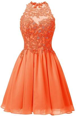 Cdress Short Homecoming Dresses Chiffon Appliques Bodice Junior Prom Dress Cocktail Gowns USW