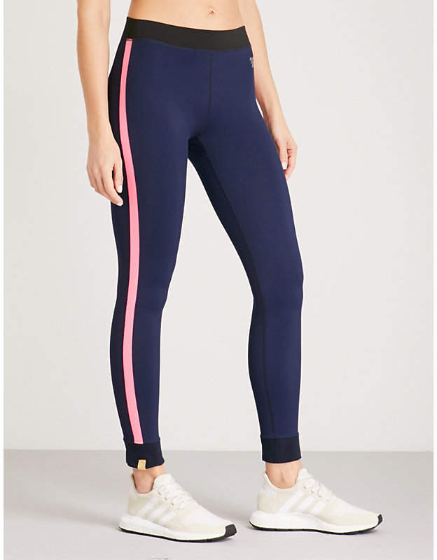 Athlete striped-panel stretch-jersey leggings