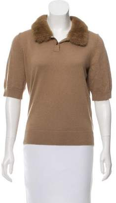 Michael Kors Mink-Trimmed Cashmere Sweater w/ Tags
