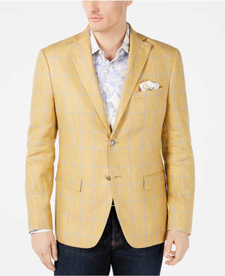 769b4e5fa5de Tallia Men's Slim-Fit Yellow/Gray Windowpane Linen Sport Coat