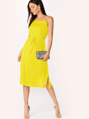 Shein Neon Yellow Split Side Belted Backless Cami Dress