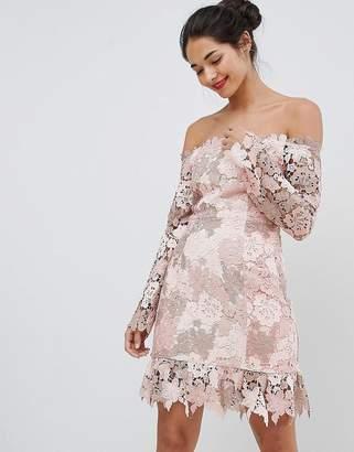 Elliatt Bardot Tonal Lace Mini Dress