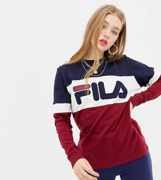Fila oversized long sleeve t-shirt with large front logo in colour block