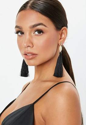 Missguided Gold Look Coin Drop Black Tassel Earrings