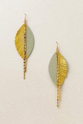 francesca's Ayla Leather Leaf Earrings - Ivory