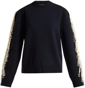 Calvin Klein Fringe-trim wool sweater