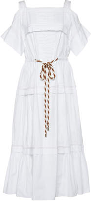 Peter Pilotto Cold-Shoulder Tiered Cotton-Poplin Midi Dress