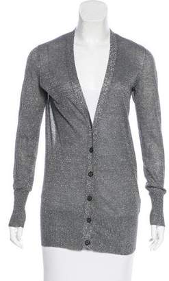 Tory Burch Metallic Button-Up Cardigan