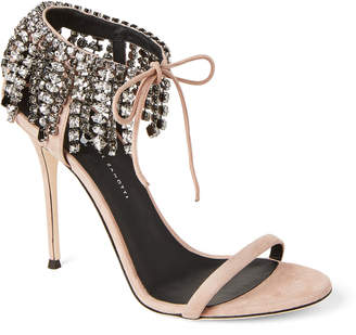 Giuseppe Zanotti Pink Mistico Suede Crystal Ankle Wrap Sandals