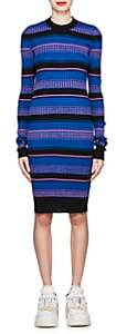 Maison Margiela Women's Striped Rib-Knit Wool-Blend Sweaterdress - Black
