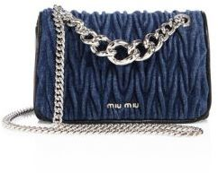 Miu Miu Miu Miu Club Matelasse Denim Chain Shoulder Bag