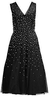 BCBGMAXAZRIA Women's Pearl Detailed Tulle Cocktail Dress - Size 0