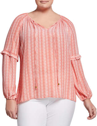 MICHAEL Michael Kors Size Striped Tie-Neck Long-Sleeve Gathered Top