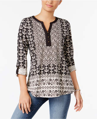 Style & Co Printed Roll-Tab Top, Only at Macy's $44.50 thestylecure.com
