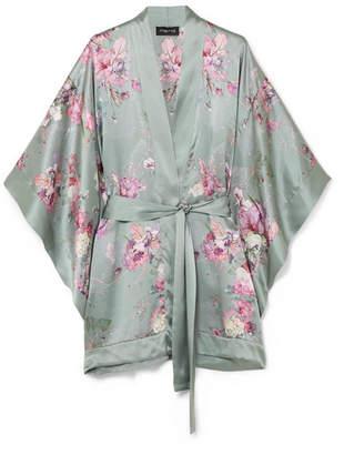 MENG - Floral-print Silk-satin Kimono - Gray green