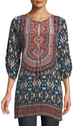 Tolani Krisanne Tassel-Neck Ruched-Sleeve Batik-Print Silk Tunic