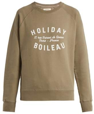 Holiday Boileau - Logo Print Cotton Sweatshirt - Womens - Khaki