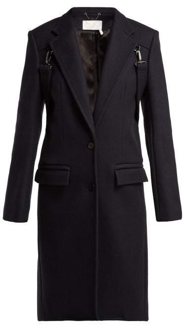Martingale Trim Wool Blend Coat - Womens - Navy