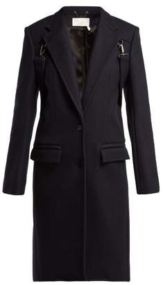 Chloé Martingale Trim Wool Blend Coat - Womens - Navy