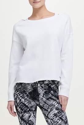 Donna Karan Cold-Shoulder Pullover Sweatshirt