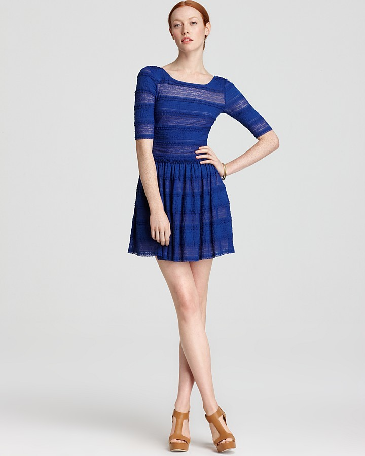 BCBGMAXAZRIA Dress - Loue Round Neck Striped Lace