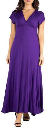24/7 Comfort Apparel Short Sleeve Maxi Dress