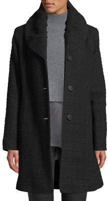 Fleurette Pleat-Collar Tweed Coat