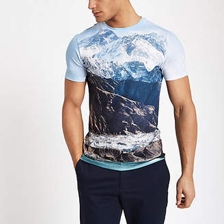 River Island White landscape print muscle fit T-shirt