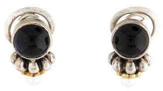 Lagos Onyx & Pearl Earclip Earrings