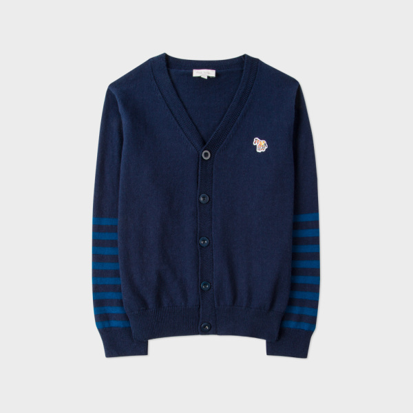 Paul Smith Boys' 2-6 Years Navy Cotton-Cashmere Zebra Logo Cardigan