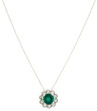 Laura Ashley Synthetic Emerald & Diamond Floral Pendant Necklace $545 thestylecure.com