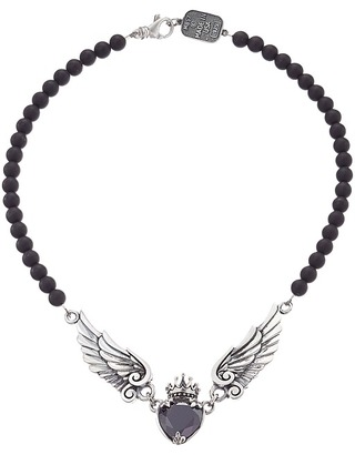 King Baby Studio - Black CZ Heart w/ Wings on 6mm Onyx Necklace 16  Necklace $780 thestylecure.com