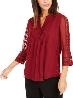Charter Club Solid Knit Pintuck Top