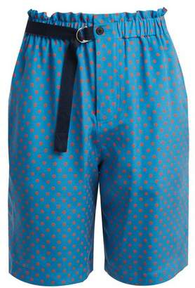 Joseph Louis Polka Dot Print Silk Chiffon Shorts - Womens - Blue Print