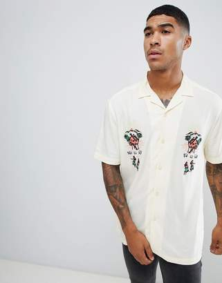 Asos Design DESIGN oversized revere shirt with embrodiery